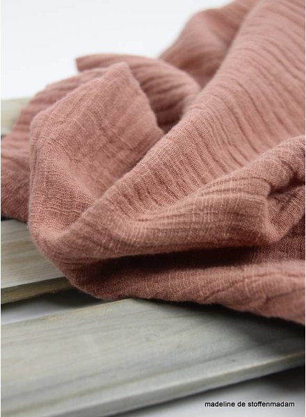linen cotton mix double gauze / tetra - dusty pink