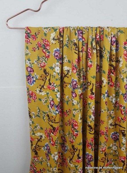 Eva's flowers ochre - viscose jersey