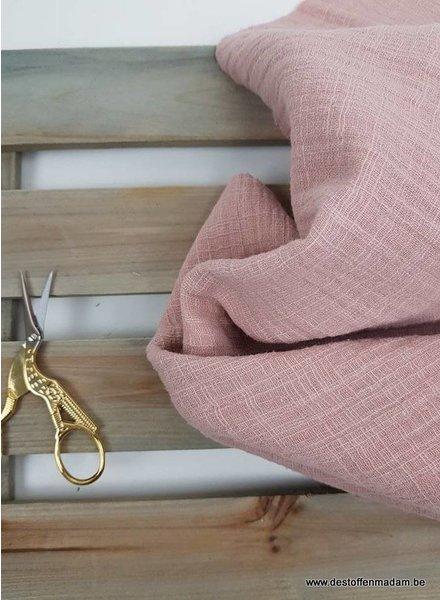 linen cotton mix double gauze / tetra - old pink