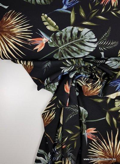 black summer leaves - scuba crêpe