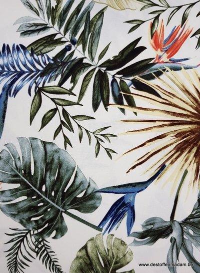 ecru summer leaves - viscose crêpe