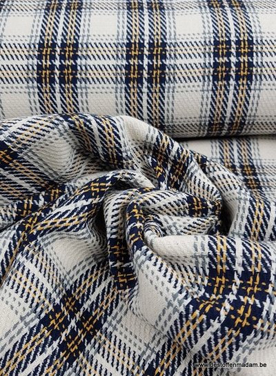 ocre and navyblue squares - woven jacquard