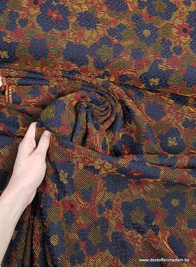 ocre flowers - woven jacquard