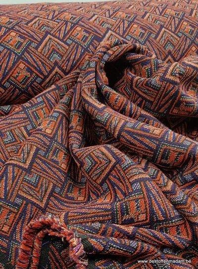 coral graphic  - woven jacquard
