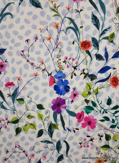 fresh flowers and dots - Italian jersey viscose
