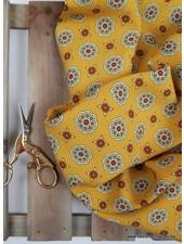 geel mandana bloemen - Italiaanse  viscose
