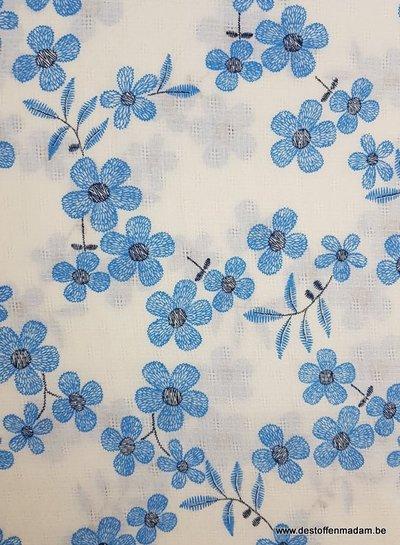 blue flowers -  mousseline cotton
