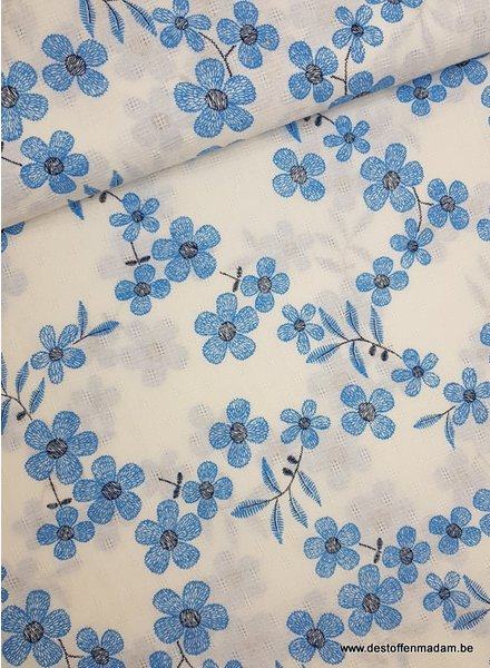 blue flowers -  mousseline cotton