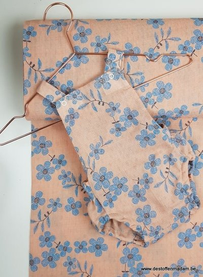 dusty pink  flowers -  mousseline cotton