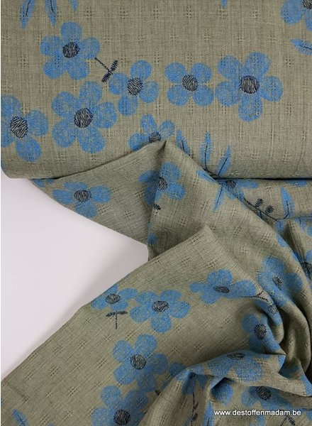 dusty green flowers -  mousseline cotton