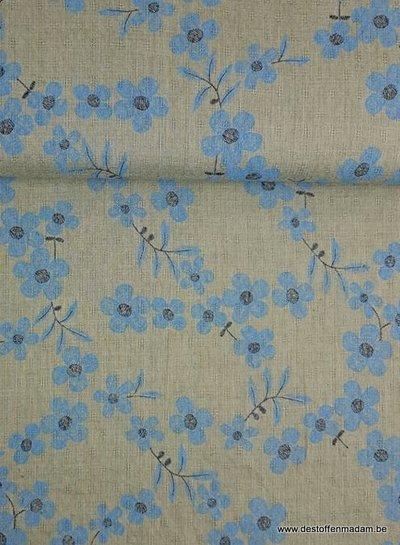 dusty green flowers -  mousseline cotton