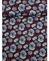 klaprozen marineblauw -  viscose tricot