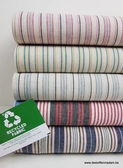 green and yellow  recycled cotton - linen touch