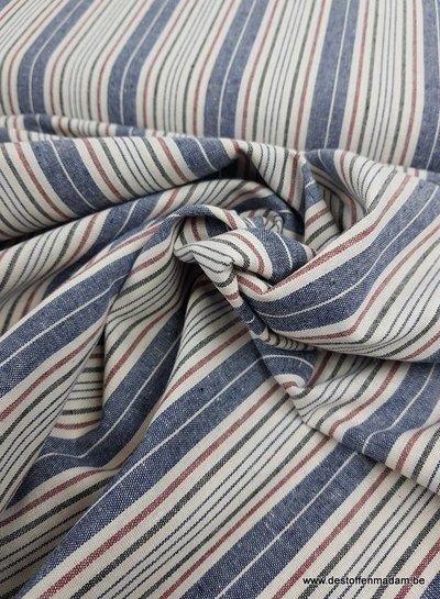 blauw en klein rode strepen - gerecycleerde katoen  - linnen touch