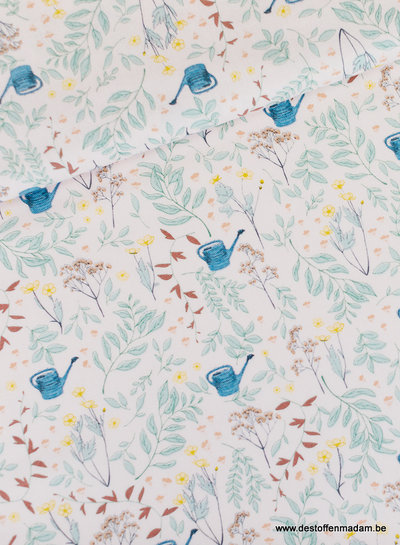 Flower Garden - katoen twill - Rozenwater