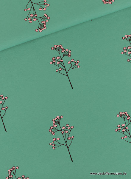 Blossom Twigs - M - French Terry - Bottle Green