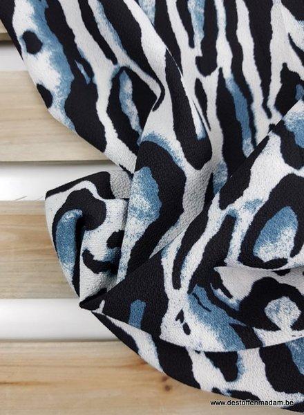 blauwe tijgerprint -  soepelvallende stof