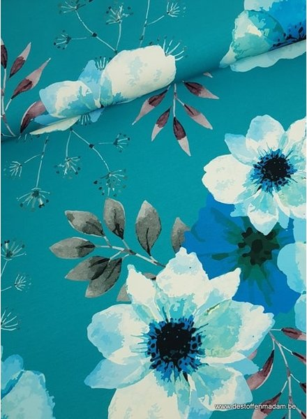 turquoise grote bloem - french terry