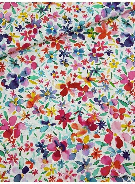 zomerse bloemen wit - katoen