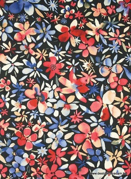 zomerse bloemen paars - katoen