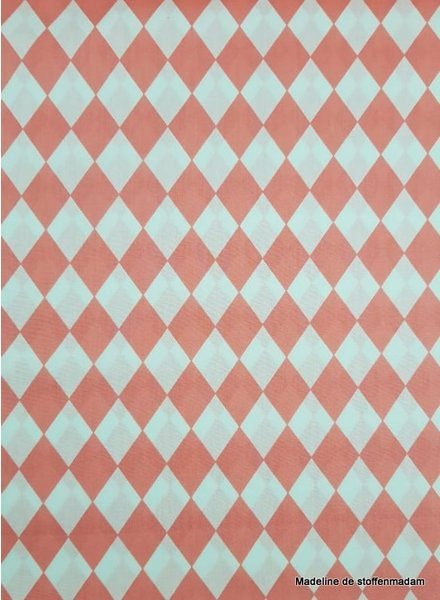 diamonds coral - poplin cotton