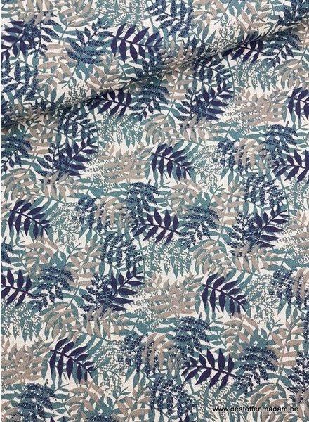 leaf print groen - deco stof