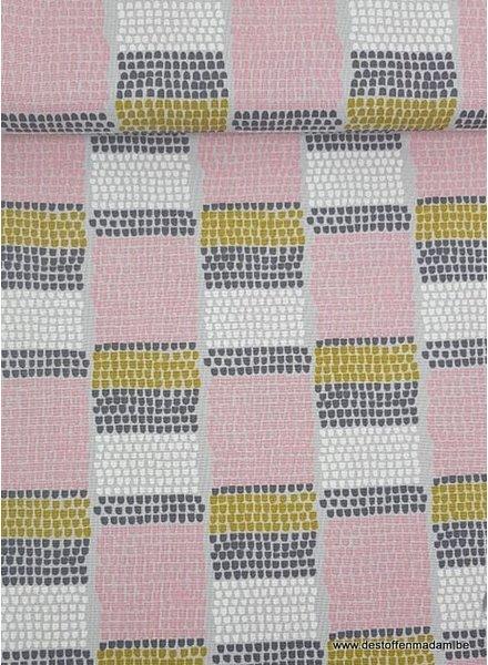 roze/grijs dotty - deco stof