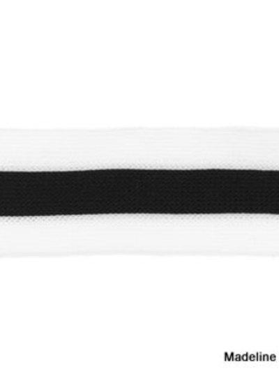 zwart-wit breed lint zijkant broek