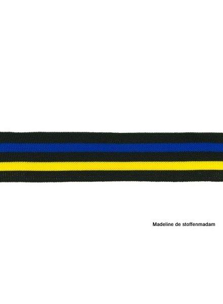 zwart-kobalt-geel lint zijkant broek