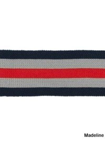 darkblue-grey-red ribbon side pants