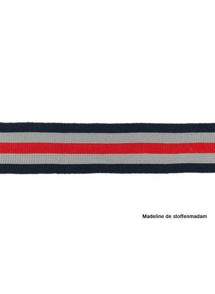 donkerblauw-grijs-rood lint zijkant broek