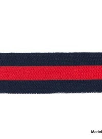 donkerblauw-rood lint zijkant broek