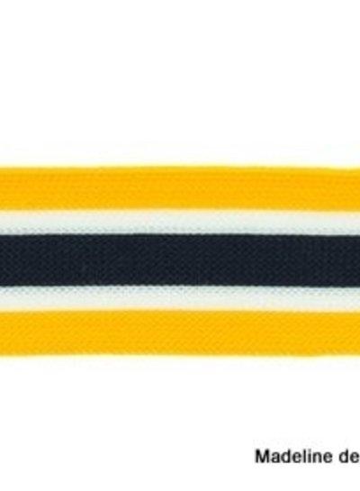 ochre-white-black ribbon side pants