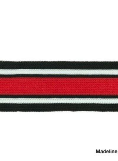 zwart-wit-rood breed lint zijkant broek