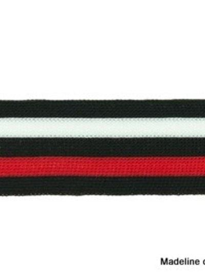 zwart-wit-rood lint zijkant broek