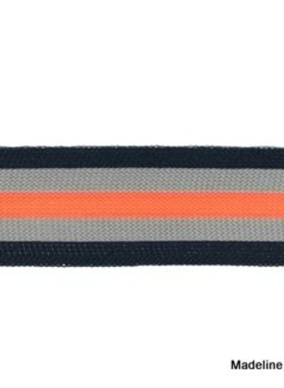 darkblue-grey-fluorpink ribbon side pants