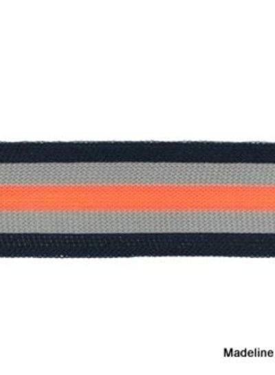 donkerblauw-grijs-fluorroze lint zijkant broek