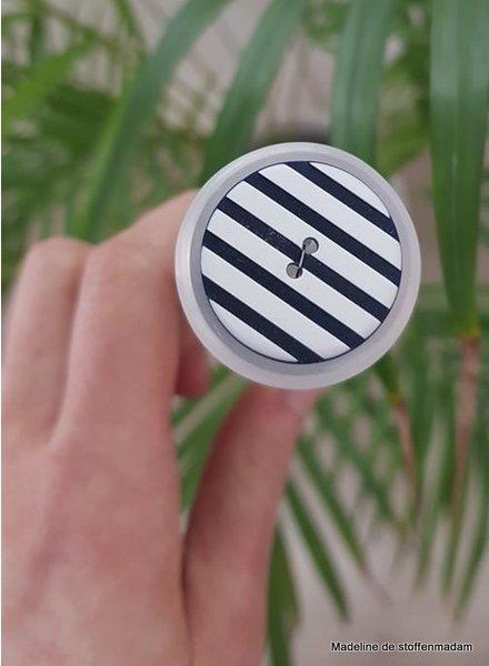 25 mm blauw-wit gestreepte knoop