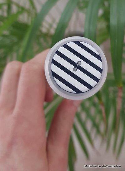 34 mm blauw-wit gestreepte knoop