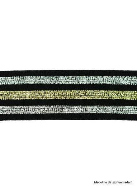 black glitter striped elastic