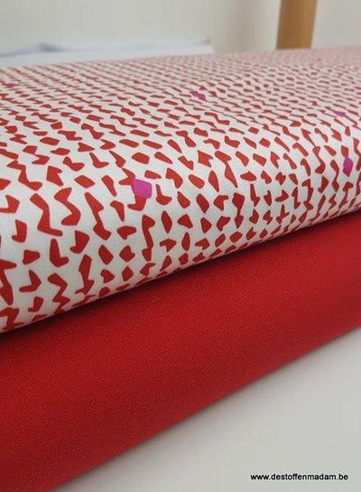 rode steentjes - stretch katoen