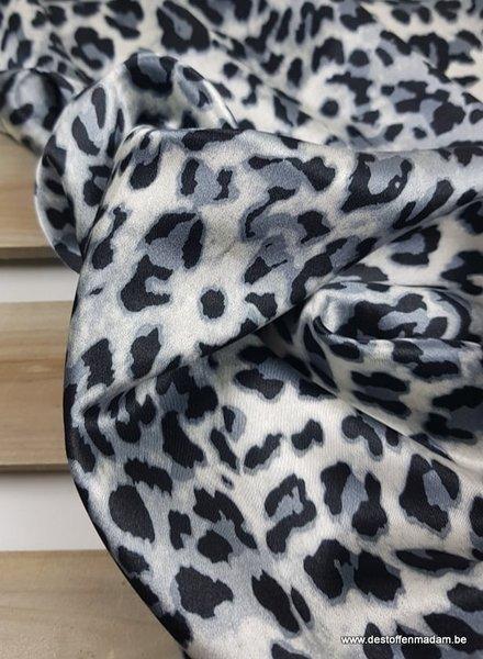 blauw luipaard print - satijn