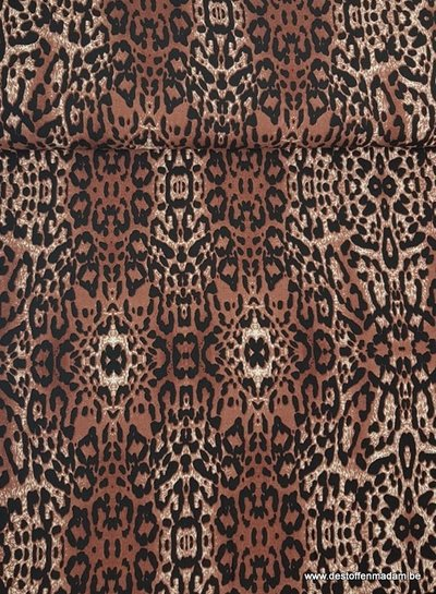 luipaard print chocoladebruin - viscose