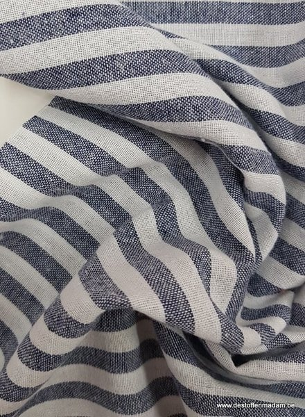 navy stripes - washed linnen mix