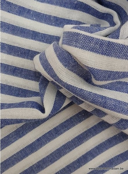 kobalt streepjes  - washed linnen mix