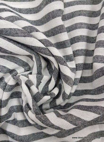 zwart streepjes  - washed linnen mix
