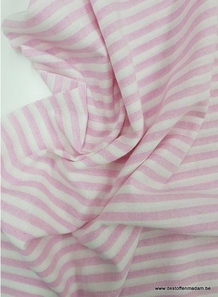 pink stripes - washed linnen mix