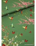 groen lentetafereel  - viscose tricot