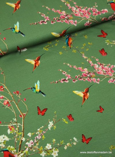 green spring flowers and birds - viscose jersey