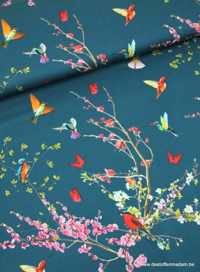 petrol blue spring flowers and birds - viscose jersey